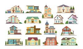 Free Set Colorful Country Town Houses With Roof, Suburban Cottages, Guest House, Mansion, Townhouse, House Brick, Buildings.  Stock Image - 198805451