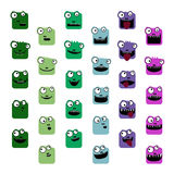 Crocodile emoticons. Set of colorful crocodile emoticons stock illustration