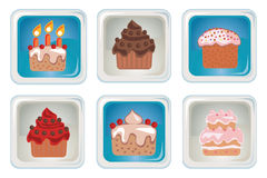 Set colorful cupcakes icons Royalty Free Stock Image