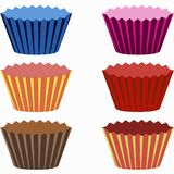 Set of colorful cups for cupcakes. A set of colorful cups with cupcakes vector Stock Images
