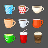 Set of colorful cups with different drinks. Cup of coffee, tea, green tea, milk, cappuccino, latte, espresso, cocoa, soda, coffee to go. Vector illustration Stock Photo