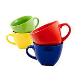 Set of colorful cups isolated on white Royalty Free Stock Photography