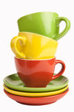 Set of colorful cups. Royalty Free Stock Photos