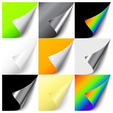 Set of colorful curled corners Stock Photography