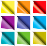 Set of colorful curled paper Stock Image