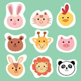 Set of colorful cute animals and pets stock illustration