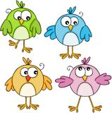 Set of colorful cute birds Stock Image