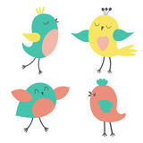 Set of colorful cute birds Stock Photos