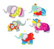Set of Colorful and Cute Elephants Royalty Free Stock Photos