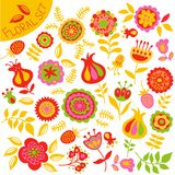 Set of colorful cute flowers Stock Photos