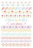 Set of cute hand drawn border stock illustration