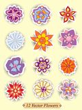 Set of colorful cute isolated flowers Royalty Free Stock Images