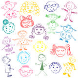 Set of Colorful Cute Kids. Funny Children Drawings. Sketch style. Royalty Free Stock Photos