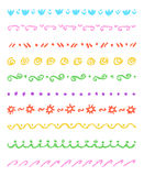 Set of colorful cute ornament stripes. Wax crayon chalk hand drawn patterned background. Group of fun hand drawing  pattern. Stock Photos