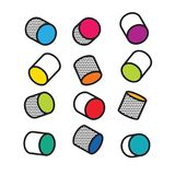 Set of Colorful 3D cylinders in pop art style, vector Stock Image