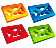 Colorful 3D Envelope Mail Icons Stock Photos
