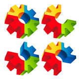 Colorful 3D Gear Icons Royalty Free Stock Photos