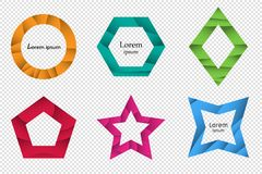 Set of colorful 3D origami geometric shapes for the design of logos, banners and other. Trendy concept multi layers papercut effect isolated on transparent vector illustration