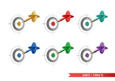 Set of colorful darts and targets for your creative works. vector illustration
