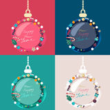 Set of colorful decorated Christmas baubles Stock Photography