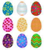 Easter eggs. Set of colorful decorative Easter eggs isolated on white Stock Images