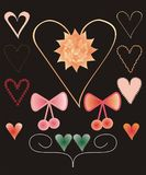 Set of colorful decorative heart shapes and bows. Set of colorful decorative heart shapes, bows and flower vector illustration