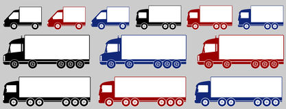 Set of colorful delivery trucks Royalty Free Stock Images