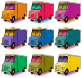 Set of colorful delivery vans. Illustration of a set of delivery vans in a range of colors isolated on white Royalty Free Stock Photography