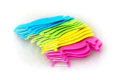 Set of colorful dental floss sticks Royalty Free Stock Photos