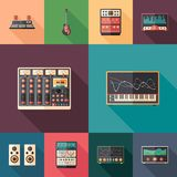 Music and multimedia set of flat square icons with long shadows. Set of colorful detailed and realistic flat design style icons Royalty Free Stock Photography