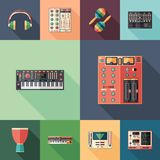 Music studio set of flat square icons with long shadows. Set of colorful detailed and realistic flat design style icons Stock Photo