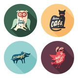 Set of animals flat round icons with long shadows. royalty free illustration