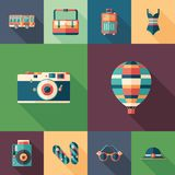Summer trip set of flat square icons with long shadows. stock illustration