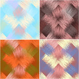 Set of colorful diagonal seamless pattern with grunge striped square elements Stock Photo