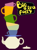 Set of colorful different tea cups pyramid Stock Photo