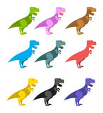 Set of colorful dinosaurs. Tyrannosaurus Rex Stock Image