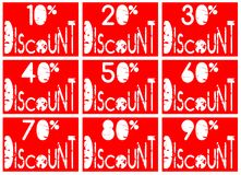 Set of colorful discount lables in red and white. A set of discount labels that can be used in all projects about sales. they have discount from 10 to 90 per royalty free illustration