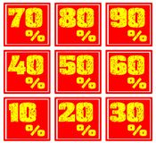 Set of colorful discount lables in red and yellow. A set of discount labels that can be used in all projects about sales. they have discount from 10 to 90 per royalty free illustration