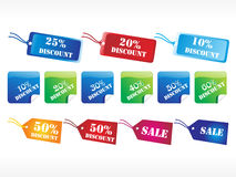 Set of colorful discount tag vector Royalty Free Stock Images