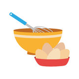 Set of colorful dish with hand beayer and eggs. Vector illustration Royalty Free Stock Image