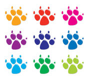 Set of colorful dog`s foot prints, flat style, vector  Royalty Free Stock Image