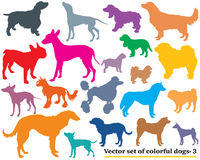 Set of colorful dogs silhouettes-3. Vector set of colorful isolated different breeds dogs silhouettes on white background. Part 3 Royalty Free Stock Photography
