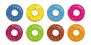 Set of colorful donuts with different glazes and sugar sprinkles stock illustration