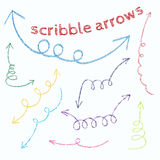 Set of colorful doodle arrows Stock Photo