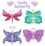Set of colorful doodle butterflies Stock Photo