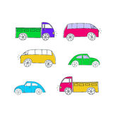 Set of colorful doodle cars Royalty Free Stock Photos