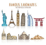 Set of Colorful Drawing of Famous and Popular Landmarks Stock Image