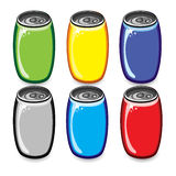Set of colorful drink cans Stock Photos