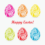 Set of colorful Easter egg. Royalty Free Stock Photos