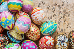 Set of colorful easter egg with drawing of rabbit Stock Photo